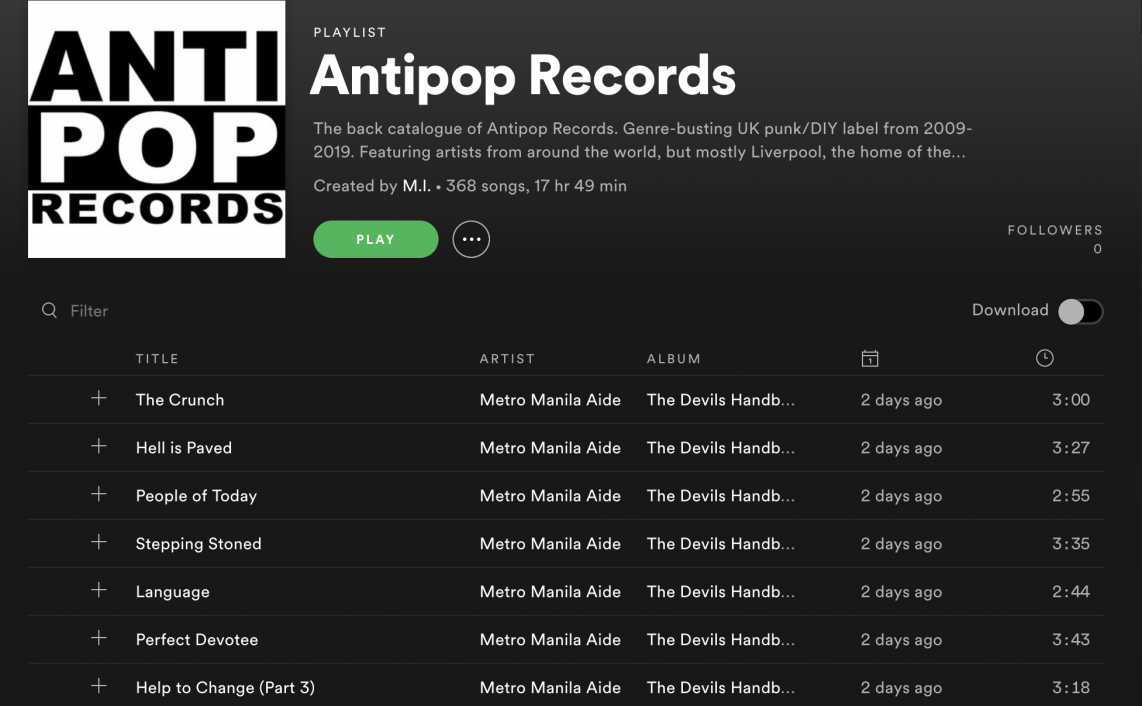 antipop records spotify playlist snapshot screenshot